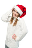 Beautiful woman wearing a santa hat smiling Royalty Free Stock Photography