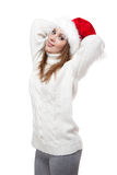 Beautiful woman wearing a santa hat smiling Royalty Free Stock Photos