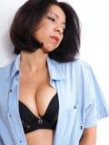 Beautiful woman wearing sexy bra and shirt Royalty Free Stock Photo