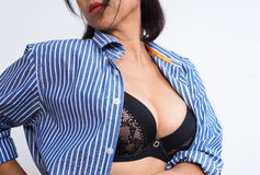 Beautiful woman wearing sexy bra and shirt Royalty Free Stock Images