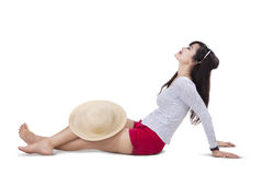 Beautiful woman wearing sun hat isolated 1 Stock Images
