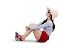 Beautiful woman wearing sun hat isolated Royalty Free Stock Image
