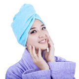 Beautiful woman wearing a towel Stock Photos