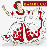 Beautiful Woman Wearing a Traditional Colombian Dress to Dance Bambuco, Vector Illustration Royalty Free Stock Photos