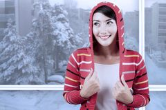 Beautiful woman wearing a warm sweater Stock Image