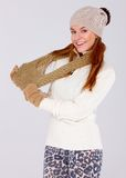 Beautiful woman wearing warm winter clothes Stock Image