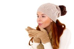 Beautiful woman wearing warm winter clothes Royalty Free Stock Photo