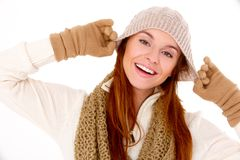 Beautiful woman wearing warm winter clothes Royalty Free Stock Photos