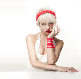 Beautiful woman wearing white dress Royalty Free Stock Images