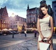 Beautiful woman wearing white dress Royalty Free Stock Photography