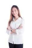 Beautiful woman wearing white shirt standing Royalty Free Stock Photography