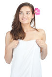 Beautiful woman wearing white towel Royalty Free Stock Images