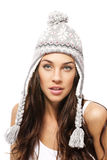 Beautiful woman wearing winter cap Stock Images