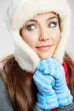 Beautiful woman wearing a winter cap Stock Photo