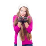 Beautiful woman wearing winter clothes Royalty Free Stock Images