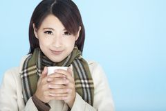 Beautiful woman wearing winter clothing Stock Photo