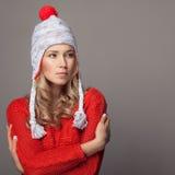 Beautiful woman wearing winter clothing. Stock Photo