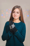 Beautiful woman wearing winter gloves Stock Photography