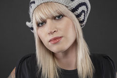 Beautiful Woman Wearing Woolen Cap Royalty Free Stock Photo