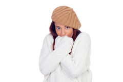 Beautiful woman wearing woolen cap with feeling cold Royalty Free Stock Photography