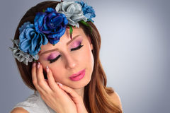 Beautiful woman wearing wreath. Stock Photography