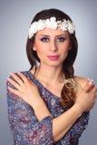 Beautiful woman wearing wreath. Stock Images