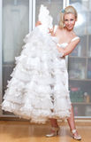 The beautiful woman with a wedding dress Stock Images
