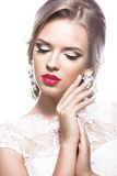 Beautiful woman in  wedding dress,  image of the bride. Beauty face. Stock Photography