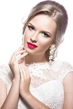 Beautiful woman in wedding dress, image of the royalty free stock photography