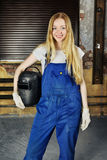 Beautiful Woman with Welder Stock Images