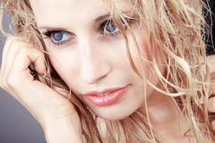 Beautiful woman with wet hair wellness Stock Photos