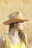 Beautiful woman in wheat field Royalty Free Stock Photo