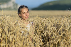 Beautiful woman in wheat at sunset. Stock Image
