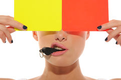 Beautiful woman with whistle, yellow and red. Cards isolated on white Royalty Free Stock Images