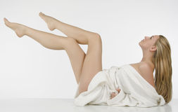 Beautiful woman whit long legs. Beautiful blonde woman whit long legs Royalty Free Stock Image