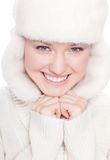 Beautiful woman on white Stock Photo