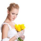 Beautiful woman on white Royalty Free Stock Image