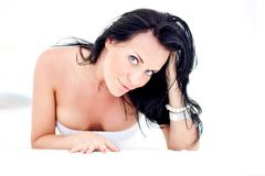Beautiful woman on white Royalty Free Stock Images