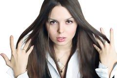 Beautiful woman on white background. Beautiful woman on white background stock photo