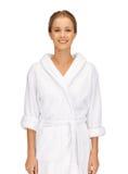 Beautiful woman in white bathrobe Royalty Free Stock Photography