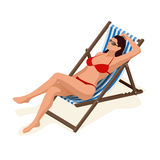 Beautiful woman in white bikini lying on a sun lounger sunbathing in the sunshine.Relaxation holiday, sunbathing and Royalty Free Stock Photos