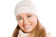 Beautiful woman in white cap Stock Photo