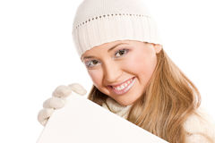 Beautiful woman in white cap Stock Image