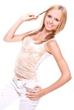 Beautiful woman in a white clothing Royalty Free Stock Photos