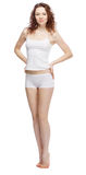 Beautiful woman in white clothing Stock Images