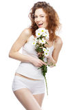 Beautiful woman in white clothing Royalty Free Stock Photography