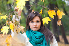 Beautiful woman in white coat and scarf Stock Photo