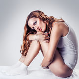Beautiful woman in white cotton lingerie Royalty Free Stock Photography