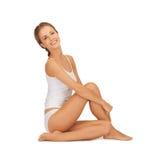 Beautiful woman in white cotton underwear Royalty Free Stock Photo