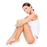 Beautiful woman in white cotton underwear Stock Photos